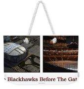 Chicago Blackhawks Before The Gates Open Interior 2 Panel White 01 Weekender Tote Bag