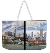 Chicago Buckingham Fountain 2 Panel Looking West And North Black Weekender Tote Bag