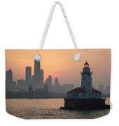 Chicago Harbor Lighthouse At Sunset Weekender Tote Bag