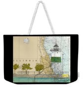Chicago Harbor Se Guidewall Lighthouse Il Nautical Chart Art Weekender Tote Bag
