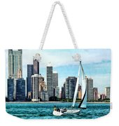 Chicago Il - Sailboat Against Chicago Skyline Weekender Tote Bag