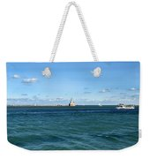 Chicago Illinois Harbor Lighthouse And Little Lady Tour Boat Usa Weekender Tote Bag