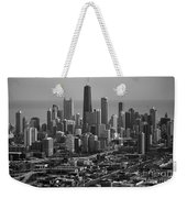 Chicago Looking East 01 Black And White Weekender Tote Bag
