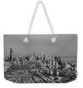 Chicago Looking North 01 Black And White Weekender Tote Bag