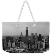 Chicago Looking West 01 Black And White Weekender Tote Bag