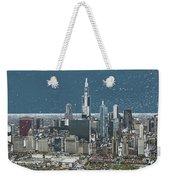 Chicago Looking West In A Snow Storm Digital Art Weekender Tote Bag