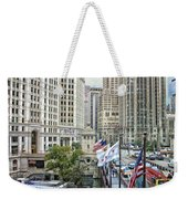 Chicago Michigan Avenue V Hdr Textured Weekender Tote Bag