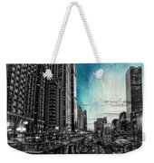 Chicago River Hdr Sc Textured Weekender Tote Bag
