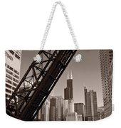 Chicago River Traffic Bw Weekender Tote Bag