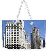 Chicago River Walk Wrigley And Tribune Weekender Tote Bag