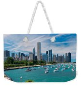 Chicago Skyline Daytime Panoramic Weekender Tote Bag by Adam Romanowicz