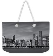 Chicago Skyline At Night Black And White Panoramic Weekender Tote Bag