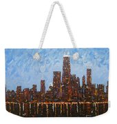 Chicago Skyline At Night From North Avenue Pier Weekender Tote Bag