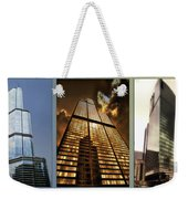 Chicago Tall Shoulders Trump Sears 333 W Wacker Triptych 3 Panel 01 Weekender Tote Bag
