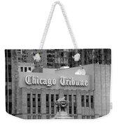 Chicago Tribune Facade Signage Bw Weekender Tote Bag
