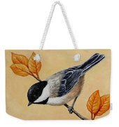 Chickadee And Autumn Leaves Weekender Tote Bag