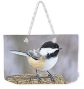 Chickadee On A Used To Be Tree Weekender Tote Bag