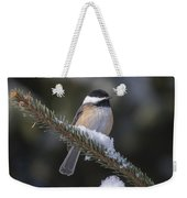 Chickadee On The Spruce Weekender Tote Bag