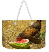 Chicken And Her Watermelon Weekender Tote Bag by Sandi OReilly