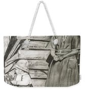Chicken Coop - Woman And Son - Feeding Chickens Weekender Tote Bag