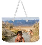 Child And Mother Playing In Hot Springs Weekender Tote Bag