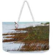 Child Playing On The Beach Mackinaw City Weekender Tote Bag