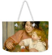Child With Toys Gabrielle And The Artist S Son Jean Weekender Tote Bag by Pierre Auguste Renoir