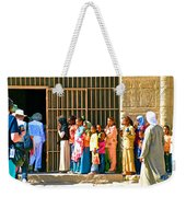 Children And Tourists At Entry To Temple Of Hathor In Dendera-egypt Copy Weekender Tote Bag by Ruth Hager