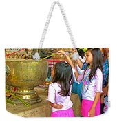 Children Bring Lotus Flowers To Royal Temple At Grand Palace Of Thailand Weekender Tote Bag