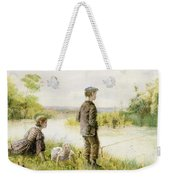 Children Fishing By A Stream Weekender Tote Bag