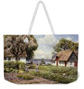 Children In A Farmyard Weekender Tote Bag by Peder Monsted