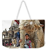 Children Love The Elephants In Patan Durbar Square In Lalitpur-nepal Weekender Tote Bag
