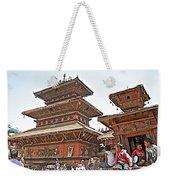 Children On Pagodas In Bhaktapur Durbar Square In Bhaktapur-nepal Weekender Tote Bag