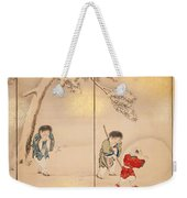 Children Playing In Summer And Winter Weekender Tote Bag