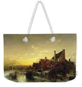 Children Playing On The Ice Weekender Tote Bag by Desire Tomassin