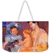 Children Playing With A Cat Weekender Tote Bag by Marry Cassatt