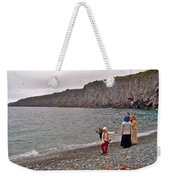 Children Throwing Capelin Back Into The Ocean At Middle Cove-nl Weekender Tote Bag