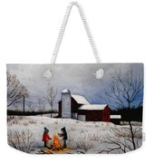 Children Warming Up By The Fire Weekender Tote Bag