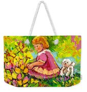 Children's Art - Little Girl With Puppy - Paintings For Children Weekender Tote Bag