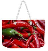 Chili Peppers At The Market Weekender Tote Bag by Heather Applegate
