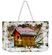 Chilly Birdhouse Holiday Card Weekender Tote Bag