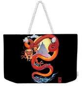Chinese Dragon On Black Weekender Tote Bag