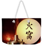 Chinese Food Against A Backgroup Of Flames Weekender Tote Bag