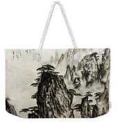 Chinese Mountains With Poem In Ink Brush Calligraphy Of Love Poem Weekender Tote Bag