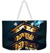 Chinese Pagoda At Night With Full Moon Weekender Tote Bag