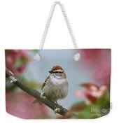Chipping Sparrow In Blossoms Weekender Tote Bag by Deborah Benoit
