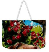 Chocolate Raspberry Fields Weekender Tote Bag by Molly Poole