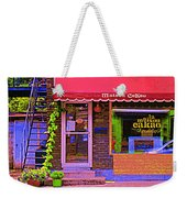 Chocolate Shop La Maison  Cakao Chocolaterie Boulangerie Patisserie Rue Fabre Montreal  Cafe Scene  Weekender Tote Bag