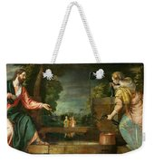 Christ And The Samaritan Woman At The Well Weekender Tote Bag
