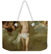 Christ Attended By Angels Holding Chalices Weekender Tote Bag